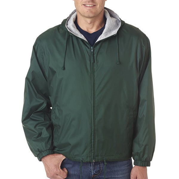 Men's Forest Green Fleece-Lined Hooded Jacket (XL)