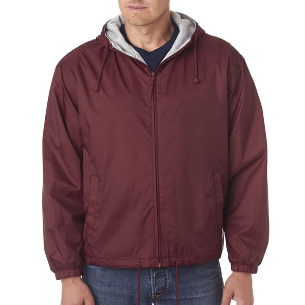 Men's Burgundy Fleece-Lined Hooded Jacket (XL)