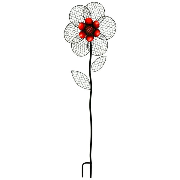 River Cottage Gardens W11354/2-YGUPS Red Metal Flower Garden Stake