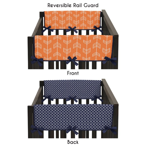 Sweet Jojo Designs Side Crib Rail Guard Covers for Orange and Navy Blue Arrow Collection (Set of 2)
