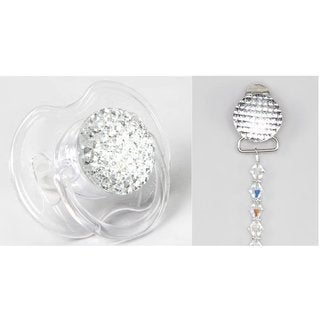 Gift Set Beaded Clip with Matching Quilted Crystal Pacifier