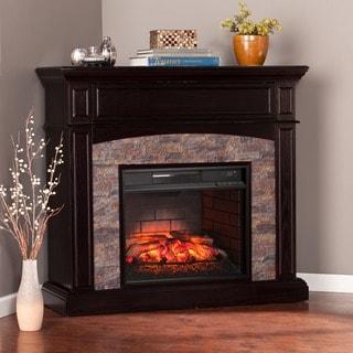 Harper Blvd Fowler Ebony Faux Stone Corner Infrared Electric Media Fireplace