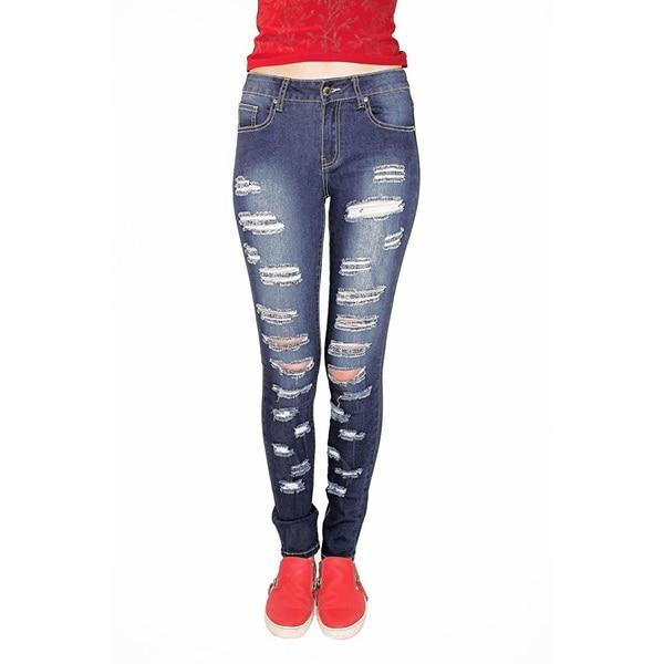 Juniors Denim Dark Wash Rips and Tears Skinny Jeans