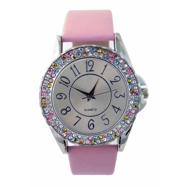 Womens Double Row Multi Colored Crystal Easy to Read Dial Faux Leather Band Silver Dial