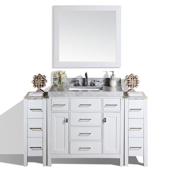 64-inch Malibu White Single Bathroom Vanity with 2 Side Cabinets & Marble Top