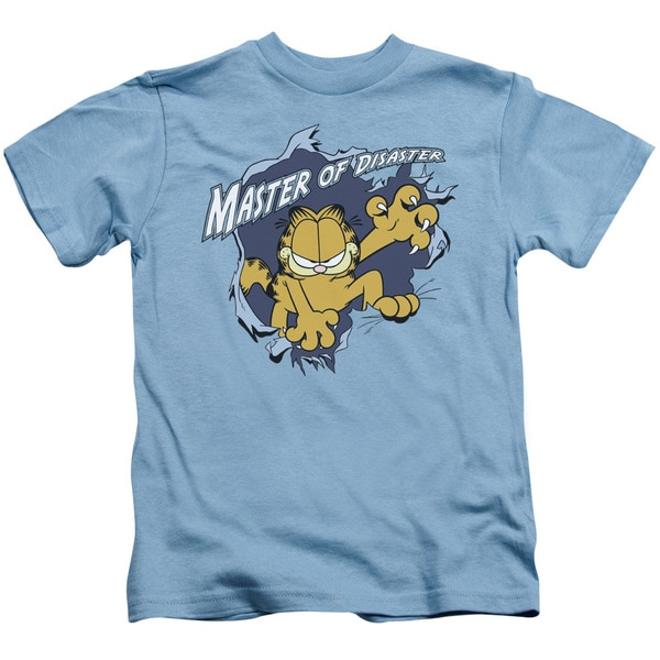 Garfield/Master Of Disaster Short Sleeve Juvenile Graphic T-Shirt in Carolina Blue