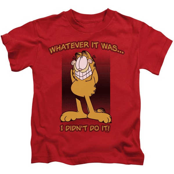 Garfield/I Didn't Do It Short Sleeve Juvenile Graphic T-Shirt in Red