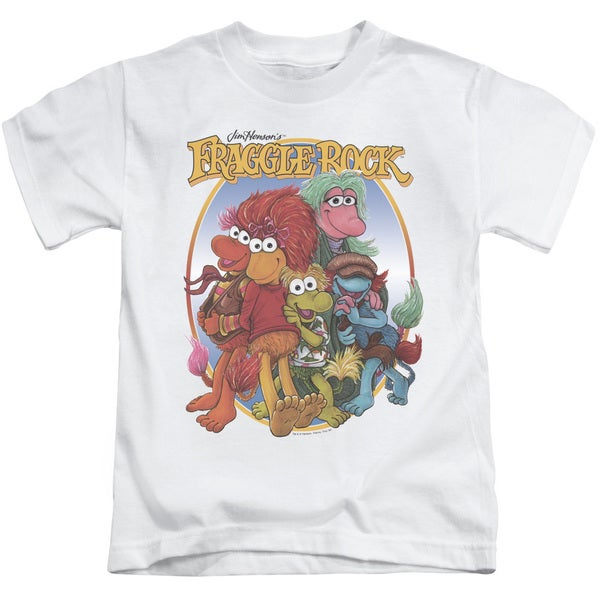Fraggle Rock/Group Hug Short Sleeve Juvenile Graphic T-Shirt in White