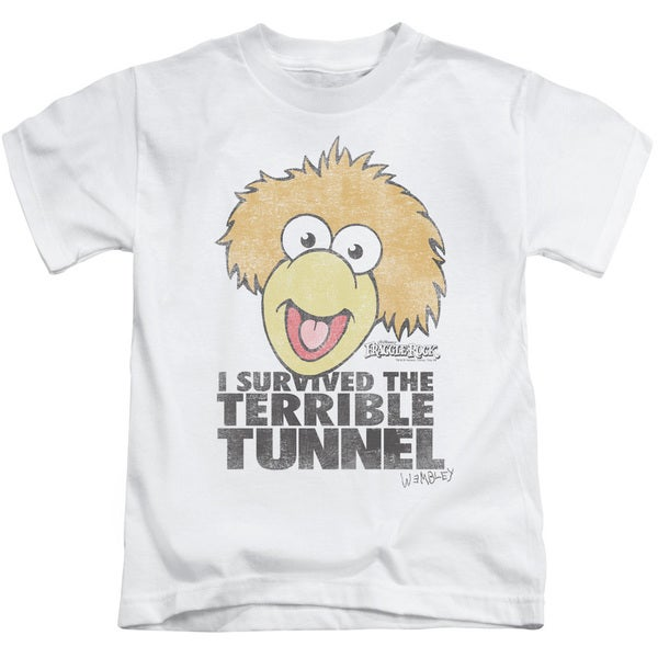 Fraggle Rock/Terrible Tunnel Short Sleeve Juvenile Graphic T-Shirt in White
