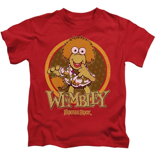 Fraggle Rock/Wembley Circle Short Sleeve Juvenile Graphic T-Shirt in Red