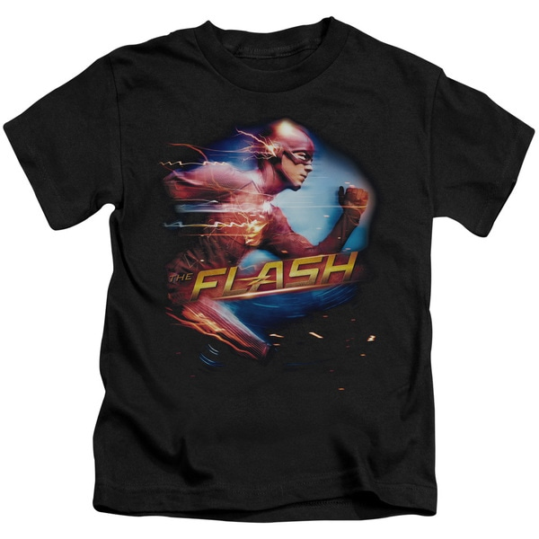 The Flash/Fastest Man Short Sleeve Juvenile Graphic T-Shirt in Black