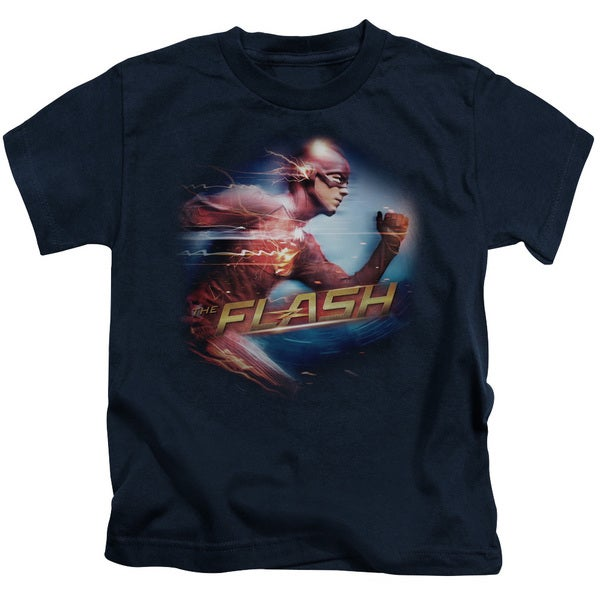 The Flash/Fastest Man Short Sleeve Juvenile Graphic T-Shirt in Navy