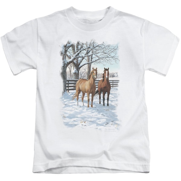 Wildlife/Coffee and Chocolate Short Sleeve Juvenile Graphic T-Shirt in White