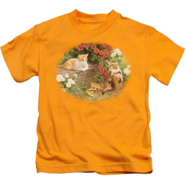 Wildlife/Kittens and Mums Short Sleeve Juvenile Graphic T-Shirt in Gold