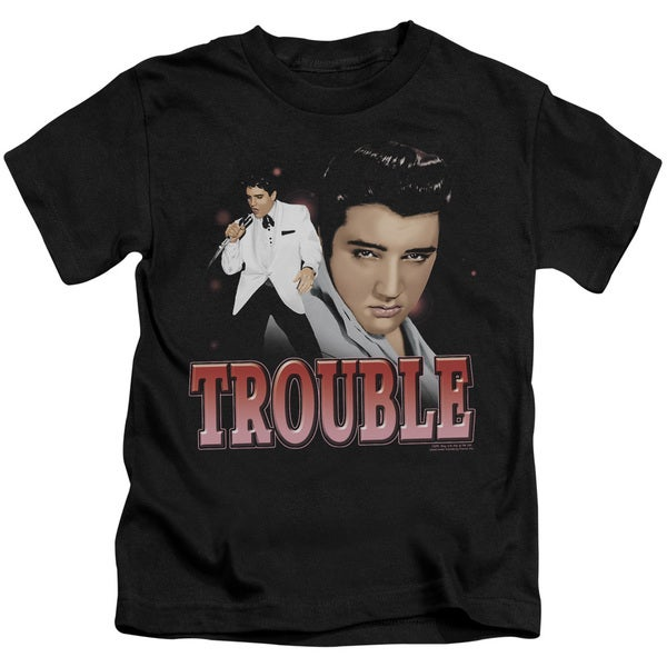 Elvis/Trouble Short Sleeve Juvenile Graphic T-Shirt in Black