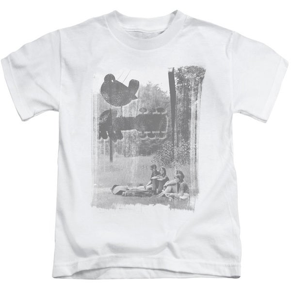 Woodstock/Hippies in A Field Short Sleeve Juvenile Graphic T-Shirt in White
