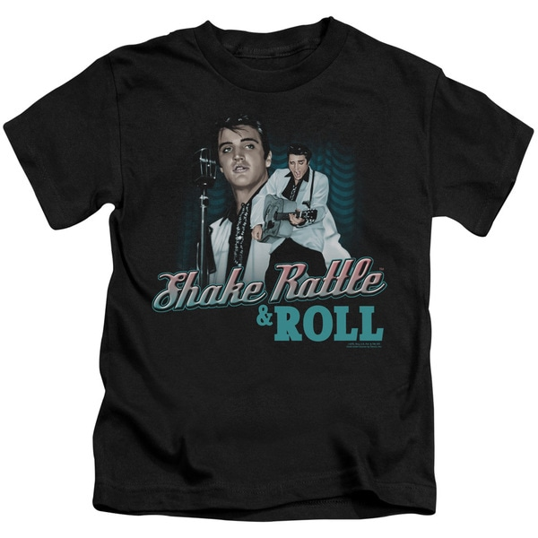 Elvis/Shake Rattle & Roll Short Sleeve Juvenile Graphic T-Shirt in Black