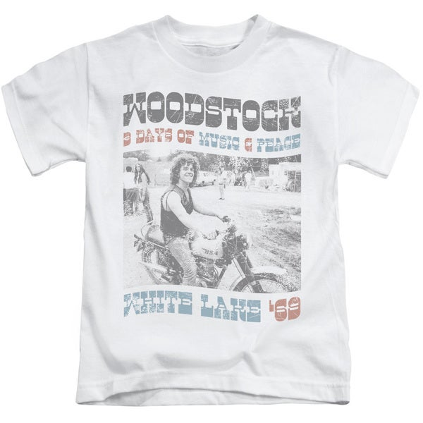 Woodstock/Rider Short Sleeve Juvenile Graphic T-Shirt in White