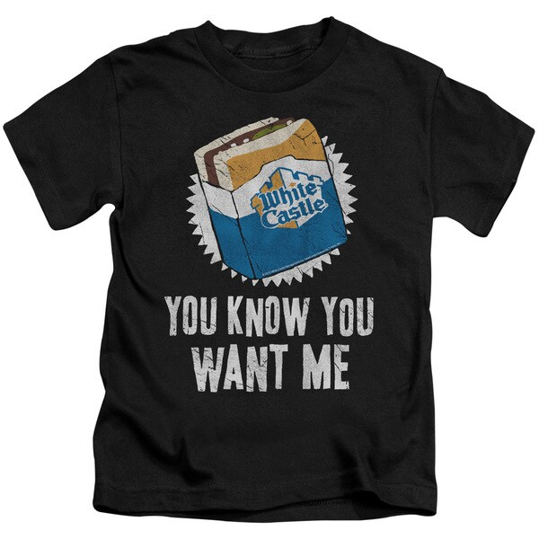 White Castle/Want Me Short Sleeve Juvenile Graphic T-Shirt in Black