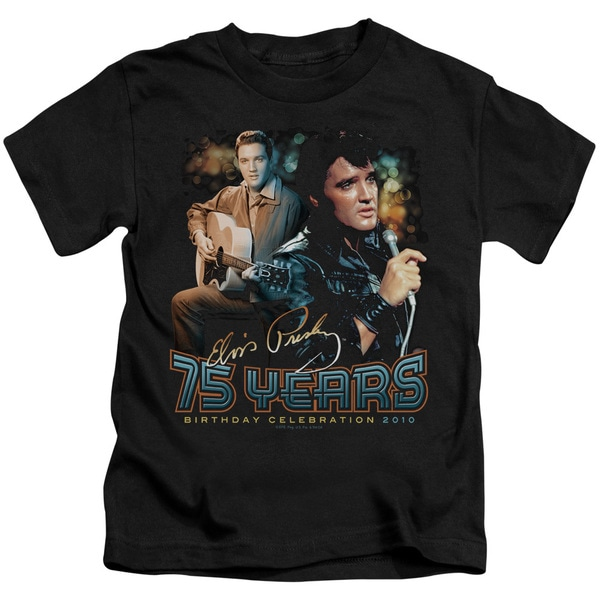Elvis/75 Years Short Sleeve Juvenile Graphic T-Shirt in Black