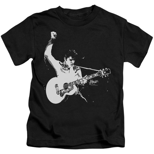 Elvis/Black & White Guitar Man Short Sleeve Juvenile Graphic T-Shirt in Black