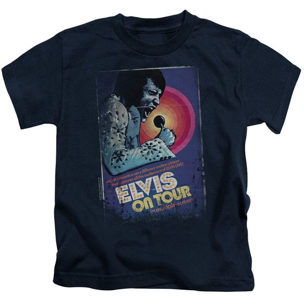 Elvis/On Tour Poster Short Sleeve Juvenile Graphic T-Shirt in Navy