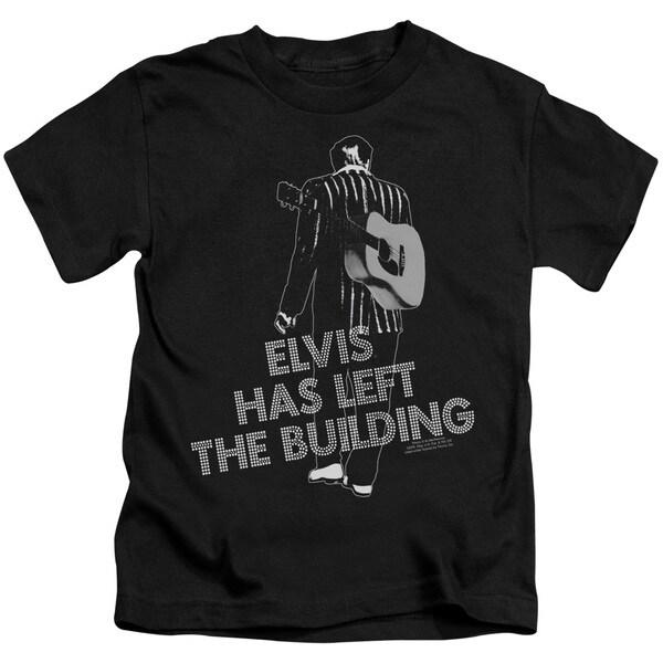 Elvis/Elvis Has Left The Bldg Short Sleeve Juvenile Graphic T-Shirt in Black