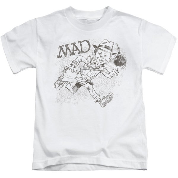 Mad/Sketch Short Sleeve Juvenile Graphic T-Shirt in White