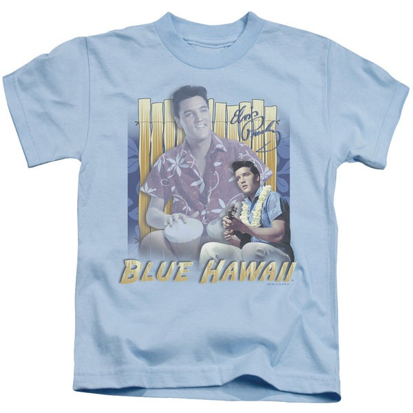 Elvis/Blue Hawaii Short Sleeve Juvenile Graphic T-Shirt in Carolina Blue