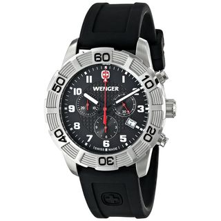 Wenger Men's 01.0853.101 'Roadster' Chronograph Black Silicone Watch