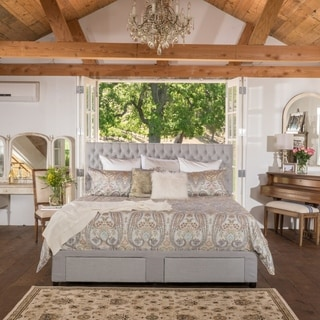 Christopher Knight Home Jezebel Tufted Fabric Cal King Bed Set with Drawers
