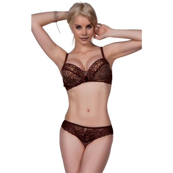 Women's Leopard-print Lace and Rhinestone Bra and Panty Set