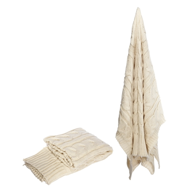 Acrylic Knit 50 x 60-inch Off-white Throw
