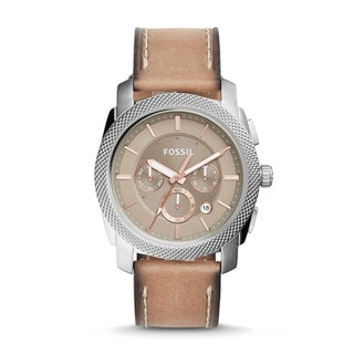 Fossil Men's FS5192 Machine Chronograph Brown Dial Light Brown Leather Watch