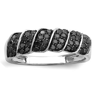 Sterling Silver 1/2ct TDW Black Diamond Cocktail Right Hand Ring