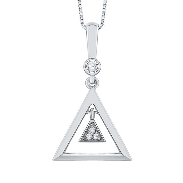 10k White Gold Diamond Accent Triangle Pendant