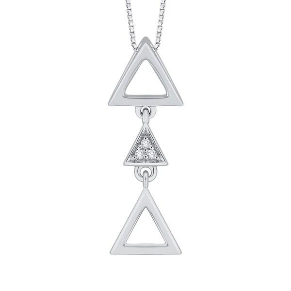 10k White Gold Diamond Accent Triangle Pendant