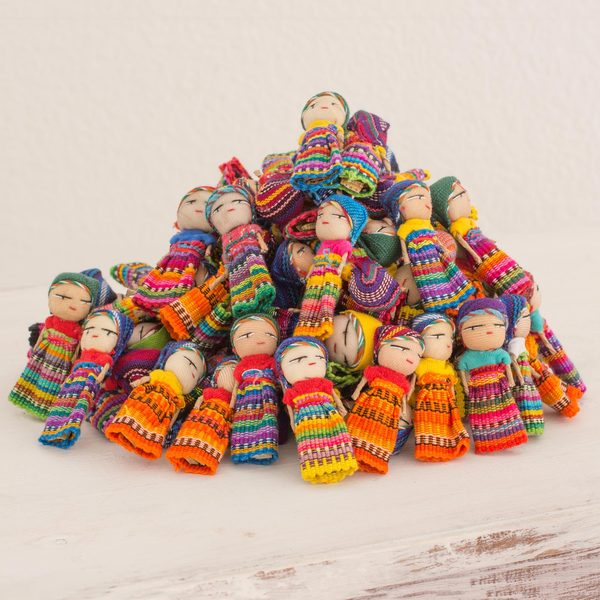 Set of 100 Handcrafted Cotton 'The Worry Doll Clan' Figurines (Guatemala)