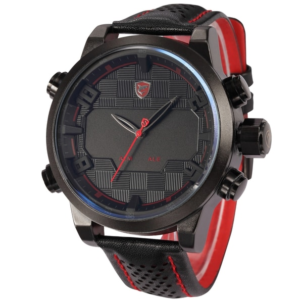 Shark Sport Watch Mens Army Black/ Red 50mm Leather Band Dual Movement Quartz Watch with LED Display Day and Date/ Alarm Clock
