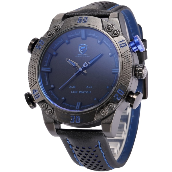 Shark Sport Watch Mens Army Black/Blue 50mm Leather Band Heavy Metal Rim Dual Movement Quartz Watch with LED Display/ Alarm