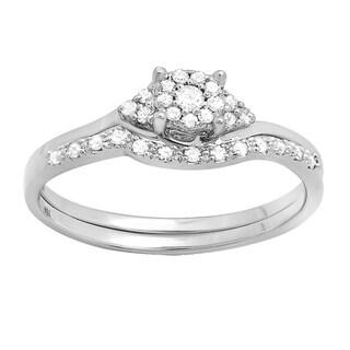 10k White Gold 1/4ct TDW Round Diamond Halo Style Bridal Engagement Ring Set With Matching Band (I-J, I2-I3)