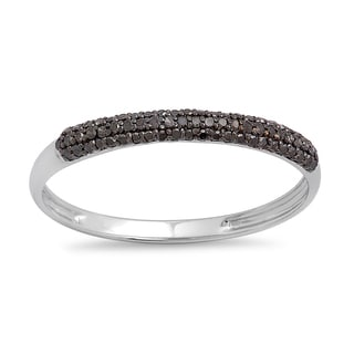 10k White Gold 1/4ct TDW Round Black Diamond Bridal Anniversary Wedding Band Stackable Ring