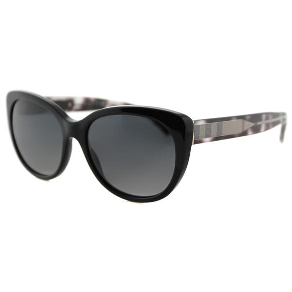 Burberry BE 4224 3001T3 Black Plastic Cat-Eye Grey Gradient Polarized Lens Sunglasses