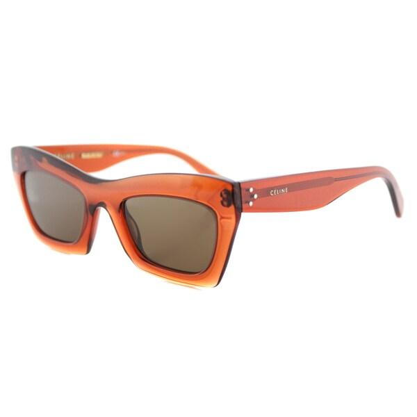 Celine CL 41399 EFB Eva Dark Orange Plastic Cat-Eye Brown Lens Sunglasses