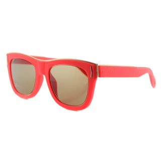 Givenchy GV 7016 VEO Fluorescent Coral Plastic Rectangle Brown Lens Sunglasses