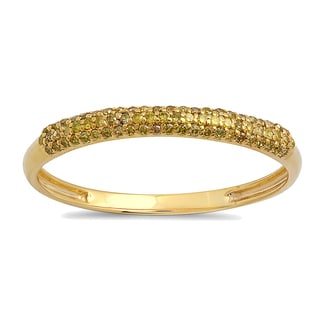 10k Yellow Gold 1/5ct TDW Round Yellow Diamond Bridal Anniversary Wedding Band Stackable Ring