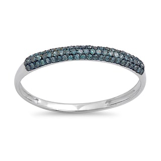 10k White Gold 1/5ct TDW Round Blue Diamond Bridal Anniversary Wedding Band Stackable Ring (I2-I3)