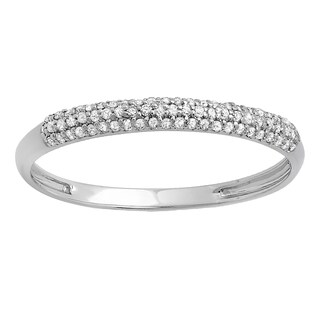 18k White Gold 1/5ct TDW Round Diamond Bridal Anniversary Wedding Band Stackable Ring (I-J, I2-I3)