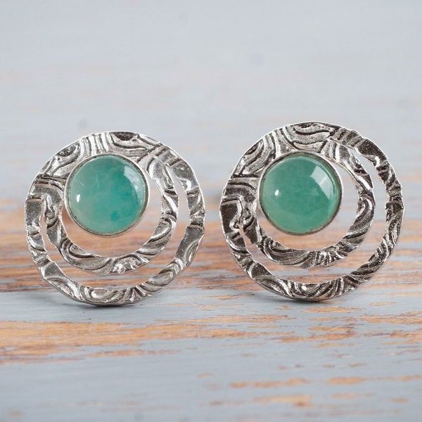 Handmade Sterling Silver 'Green Vibrations' Opal Earrings (Peru) 20046198