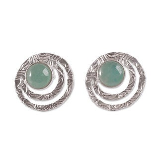 Handcrafted Sterling Silver 'Green Vibrations' Opal Earrings (Peru)